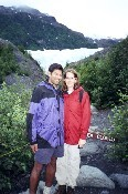 Sharon and Neelan in front of a glacier in Alaska - August 1999